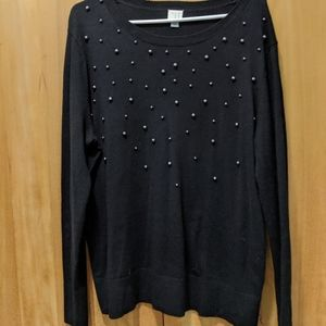 "Black sweater with gunmetal grey ""pearls"""